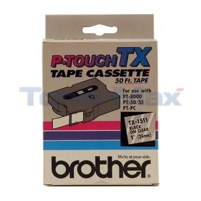 BROTHER P-TOUCH TAPE BLACK/CLEAR (24 MM X 15 M)